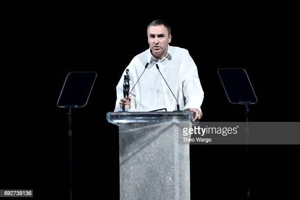 Raf Simons accepts an award onstage during the 2017 CFDA Fashion Awards at Hammerstein Ballroom on June 5 2017 in New York City