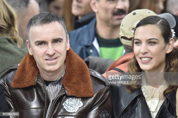 Raf Simons and Alexa Chung at the JW Anderson Ready to Wear Fall/Winter 20182019 fashion show during London Fashion Week February 2018 on February 17...