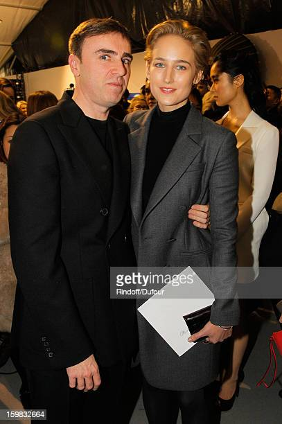 Raf Simons and Leelee Sobieski attend the Christian Dior Spring/Summer 2013 HauteCouture show as part of Paris Fashion Week on January 21 2013 in...