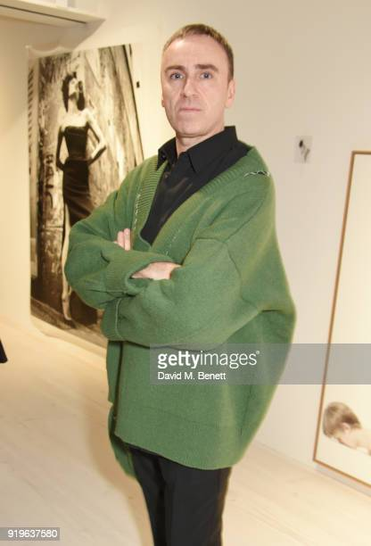 Raf Simons attends the AnOther Magazine The Store X official opening of Prints Film Posters More A Willy Vanderperre Exhibition at 180 The Strand on...