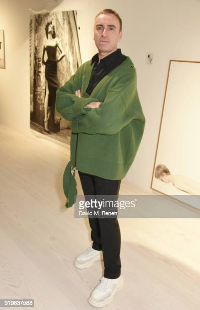 Raf Simons attends the AnOther Magazine The Store X official opening of 'Prints Film Posters More A Willy Vanderperre Exhibition' at 180 The Strand...
