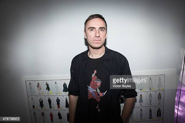 Raf Simons poses backstage after the Christian Dior show as part of Paris Fashion Week Haute Couture Fall/Winter 2015/2016 on July 6 2015 in Paris...
