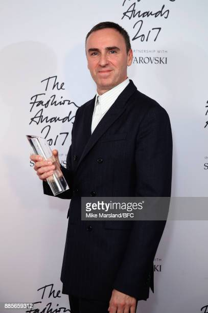 Raf Simons with the Designer of the Year Award in the winners room during The Fashion Awards 2017 in partnership with Swarovski at Royal Albert Hall...