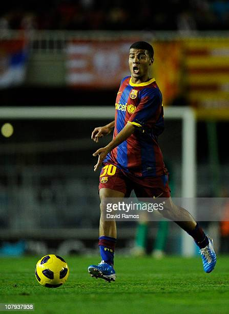 Rafa Alcantara of FC Barcelona B runs with the ball during the La Liga Adelante match between FC Barcelona B and Girona at Mini Estadi on January 8...