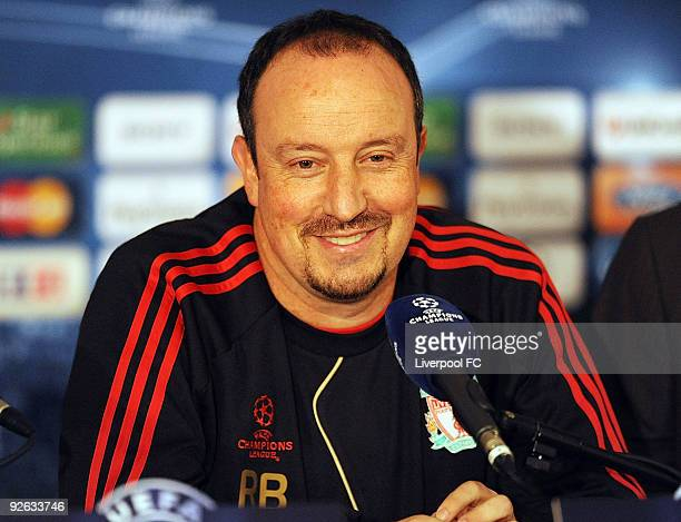 Rafa Benitez manager of Liverpool attends a Press conference, prior to the UEFA Champions League Group E match between Liverpool and Lyon at Stade de...