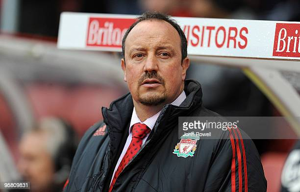 Rafa Benitez manager of Liverpool during the Barclays Premier League match between Stoke City and Liverpool at Britannia Stadium on January 16, 2010...
