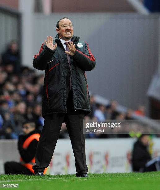 Rafa Benitez manager of Liverpool gives out the orders during the Barclays Premier League match between Blackburn and Liverpool at Ewood Park on...