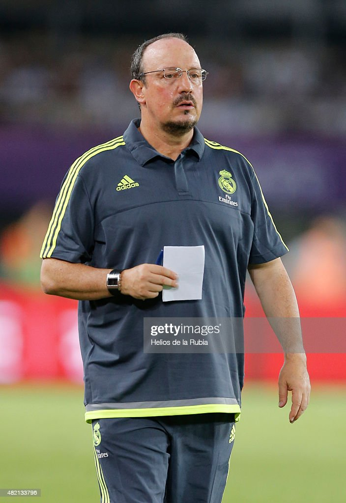 Rafa Benitez of Real Madrid C.F looks on during the international Champions Cup China match between Real Madrid and Inter de Milan at the Tianhe Stadium on July 27, 2015 in Guangzhou, China.