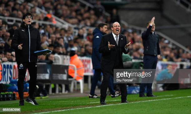 Rafa Benitez reacts during the Sky Bet Championship match between Newcastle United and Leeds United at St James' Park on April 14, 2017 in Newcastle...