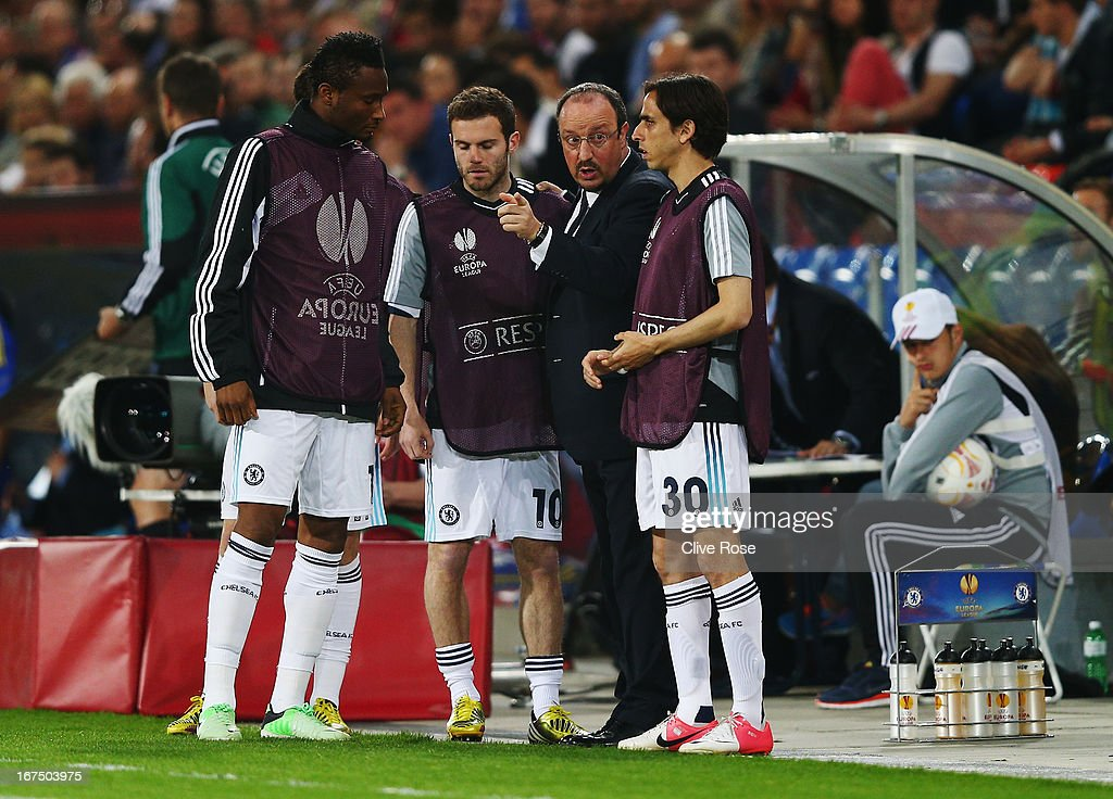Rafa Benitez the Chelsea interim manager gives instructions to Jon Obi Mikel (L), Juan Mata (2nd left) and Yossi Benayoun (R) on the touchline during the UEFA Europa League Semi Final First Leg match between FC Basel 1893 and Chelsea at St. Jakob Stadium on April 25, 2013 in Basel, Switzerland.