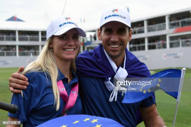 Rafa Cabrera Bello and his wife Sofia Lundstedt of Europe team celebrates following their victory during the singles matches on day three of the 2018...