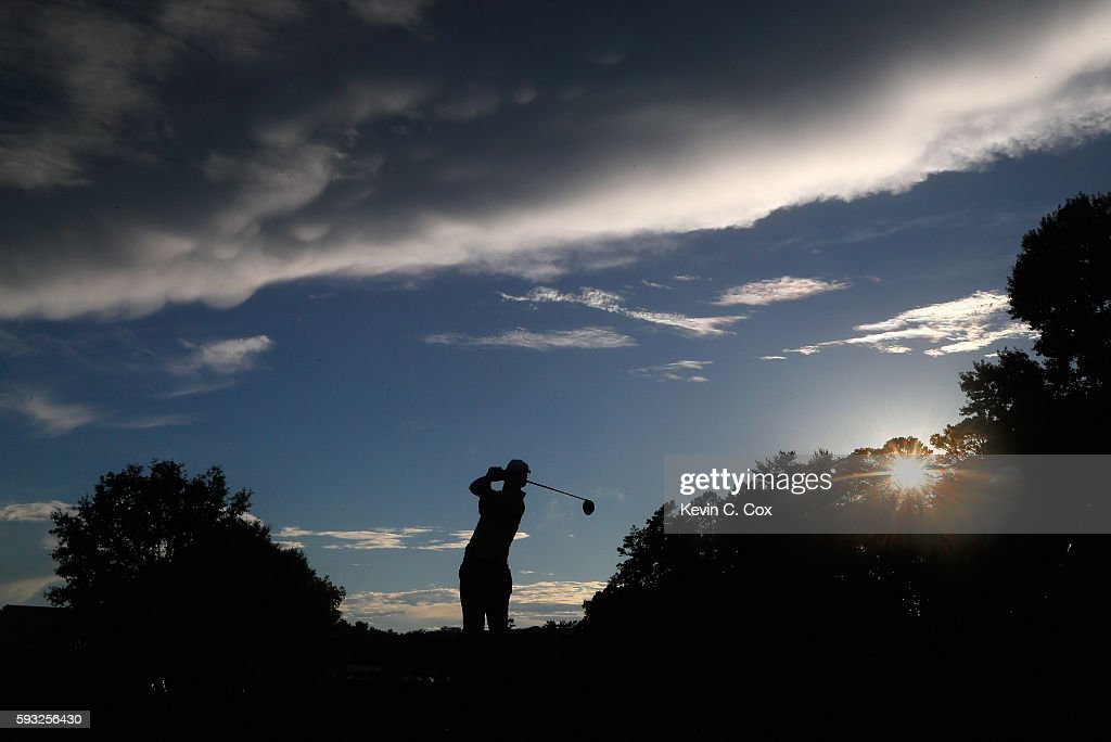 Rafa Cabrera Bello hits a tee shot on the 18th hole during the final round of the Wyndham Championship at Sedgefield Country Club on August 21, 2016 in Greensboro, North Carolina.
