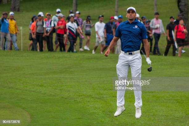 Rafa Cabrera Bello is seen having a warm up before taking a shot on the last day at EurAsia Cup 2018 EurAsia Cup is a biennial men professional team...