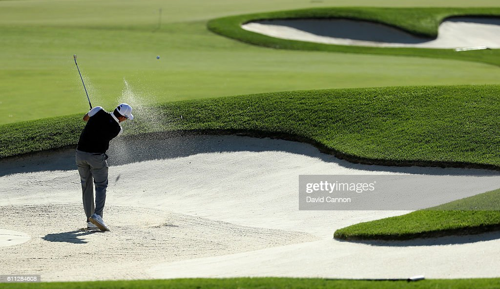 Rafa Cabrera Bello of Europe hits out of a bunker during practice prior to the 2016 Ryder Cup at Hazeltine National Golf Club on September 29, 2016 in Chaska, Minnesota.