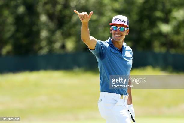 Rafa Cabrera Bello of Spain celebrates his chip for birdie on the second hole during the first round of the 2018 US Open at Shinnecock Hills Golf...
