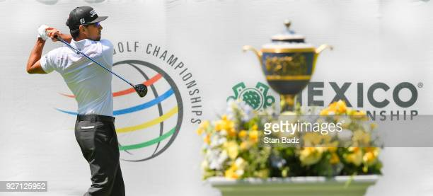 Rafa Cabrera Bello of Spain hits a tee shot on the first hole during round three of the World Golf ChampionshipsMexico Championship at Club de Golf...