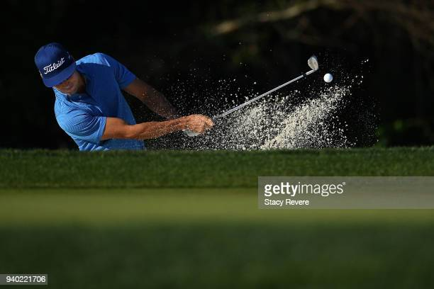 Rafa Cabrera Bello of Spain hits from a green side bunker on the 14th hole during the second round of the Houston Open at the Golf Club of Houston on...