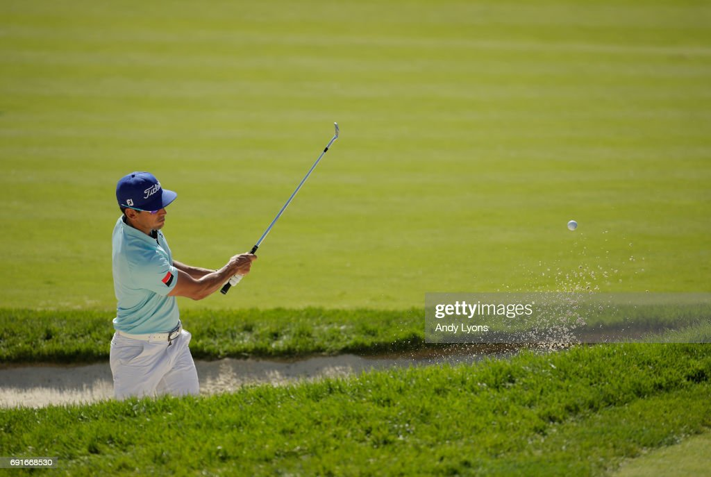 Rafa Cabrera Bello of Spain hits his second shot on the 16th hole during the second round of the Memorial Tournament at Muirfield Village Golf Club on June 2, 2017 in Dublin, Ohio.