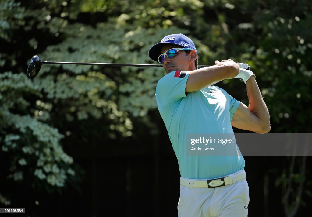 Rafa Cabrera Bello of Spain hits his tee shot on the 17th hole during the second round of the Memorial Tournament at Muirfield Village Golf Club on June 2, 2017 in Dublin, Ohio.