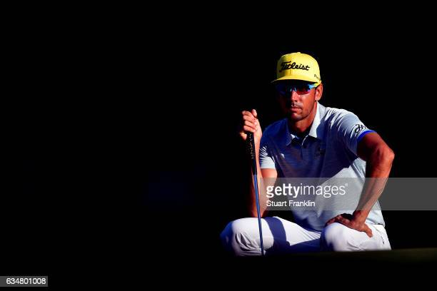 Rafa Cabrera Bello of Spain lines up a putt during Day Four of the Maybank Championship Malaysia at SaujanaGolf Club on February 12 2017 in Kuala...
