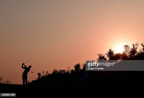 Rafa Cabrera Bello of Spain plays a shot during the first round of the Hero Indian Open at Dlf Golf and Country Club on March 9, 2017 in New Delhi,...