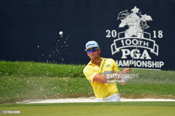 Rafa Cabrera Bello of Spain plays a shot from a bunker on the sixth hole during the final round of the 2018 PGA Championship at Bellerive Country...