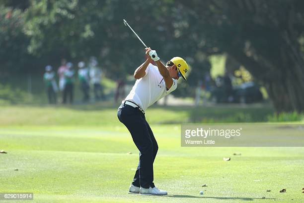 Rafa Cabrera Bello of Spain plays his second shot into the first green during the final round of the UBS Hong Kong Open at The Hong Kong Golf Club on...