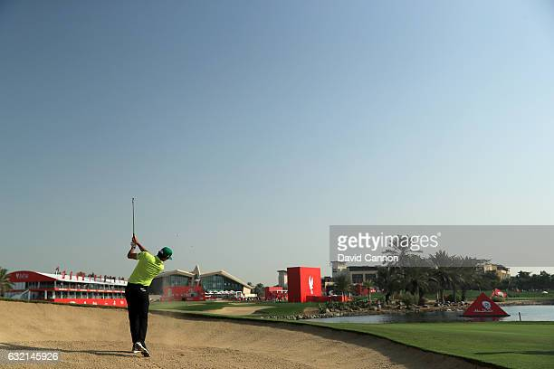 Rafa Cabrera Bello of Spain plays his second shot on the 18th hole during the second round of the 2017 Abu Dhabi HSBC Golf Championship at Abu Dhabi...