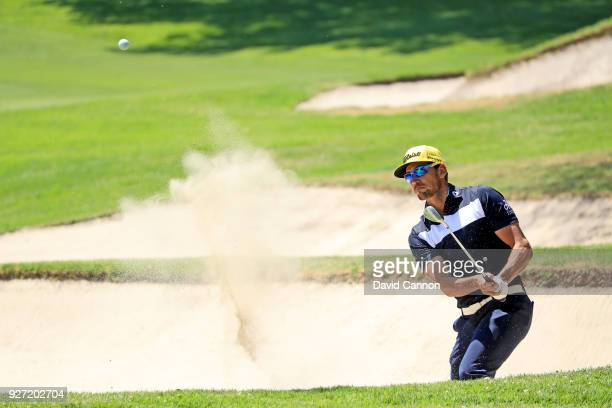 Rafa Cabrera Bello of Spain plays his second shot on the first hole during the final round of the World Golf ChampionshipsMexico Championship at the...