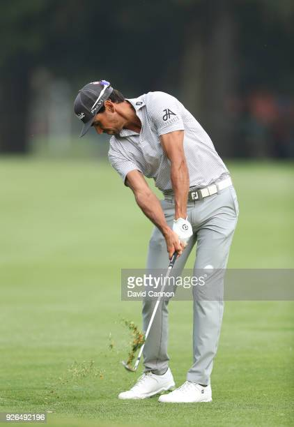 Rafa Cabrera Bello of Spain plays his second shot on the par 4 18th hole during the second round of the World Golf ChampionshipsMexico Championship...