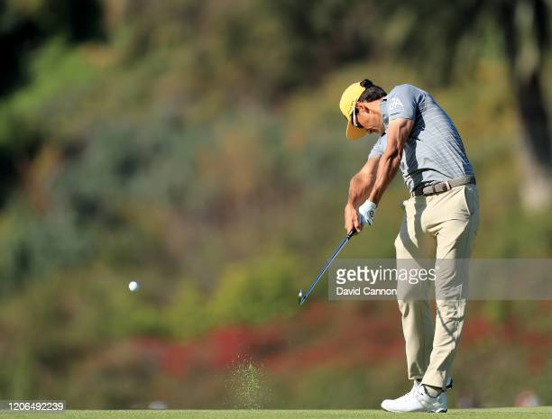 Rafa Cabrera Bello of Spain plays his second shot on the par 5 first hole during the third round of the Genesis Invitational at The Riviera Country...