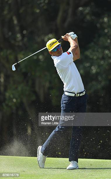Rafa Cabrera Bello of Spain plays his second shot on the third hole during the final round of the UBS Hong Kong Open at The Hong Kong Golf Club on...