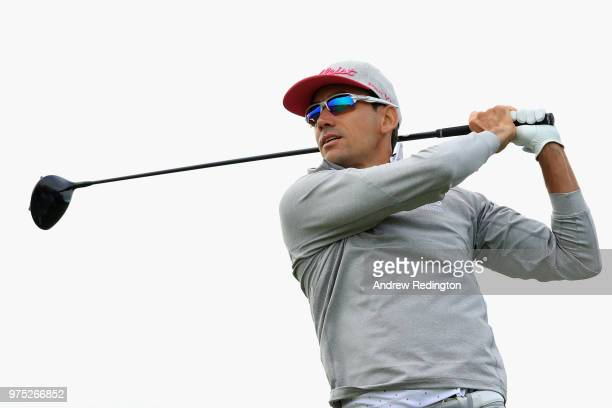 Rafa Cabrera Bello of Spain plays his shot from the 12th tee during the second round of the 2018 US Open at Shinnecock Hills Golf Club on June 15...