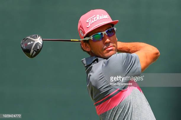 Rafa Cabrera Bello of Spain plays his shot from the first tee during the third round of The Northern Trust on August 25 2018 at the Ridgewood...