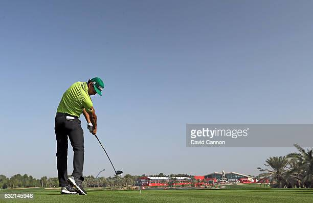Rafa Cabrera Bello of Spain plays his tee shot on the 18th hole during the second round of the 2017 Abu Dhabi HSBC Golf Championship at Abu Dhabi...