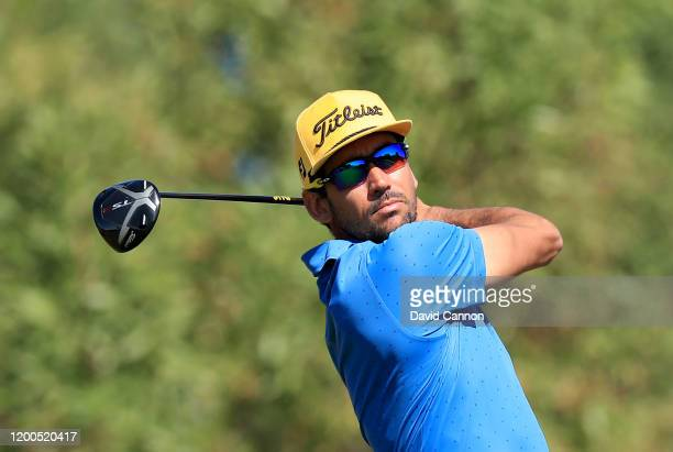 Rafa Cabrera Bello of Spain plays his tee shot on the third hole during the final round of the Abu Dhabi HSBC Championship at Abu Dhabi Golf Club on...