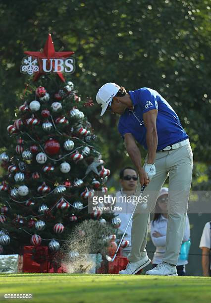 Rafa Cabrera Bello of Spain tees off on the 12th hole during the third round of the UBS Hong Kong Open at The Hong Kong Golf Club on December 10,...