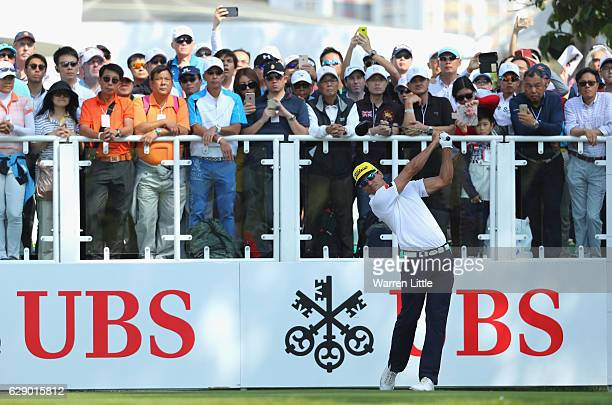 Rafa Cabrera Bello of Spain tees off on the first hole during the final round of the UBS Hong Kong Open at The Hong Kong Golf Club on December 11...