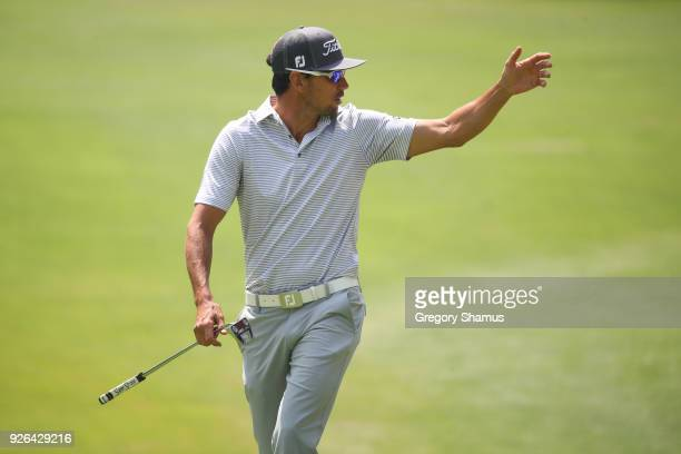 Rafa Cabrera Bello of Spain walks up to the first green during the second round of World Golf Championships-Mexico Championship at Club de Golf...
