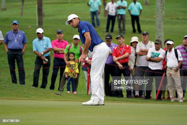 Rafa Cabrera Bello of team Europe in action during the singles matches on day three of the 2018 EurAsia Cup presented by DRBHICOMat Glenmarie GCC on...