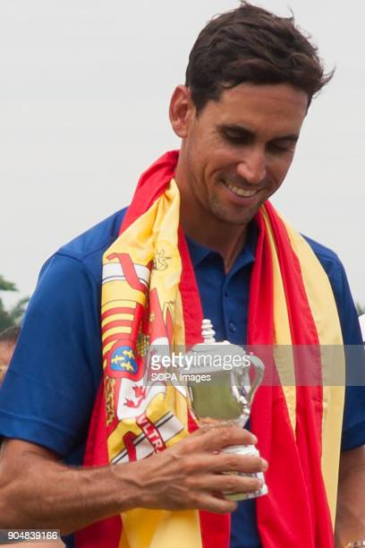 Rafa Cabrera Bello seen smiling while looking at his Eurasia Cup ceremonial gift EurAsia Cup is a biennial men professional team golf tournament...