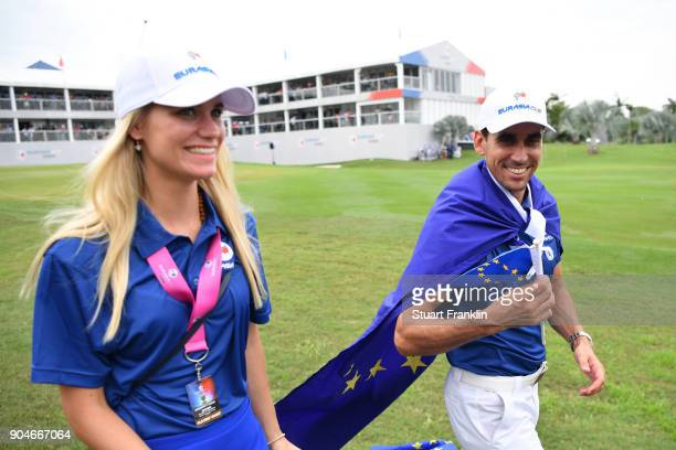 Rafa CabreraBello of Europe and his wife Sofia celebrate during the singles matches on day three of the 2018 EurAsia Cup presented by DRBHICOM at...