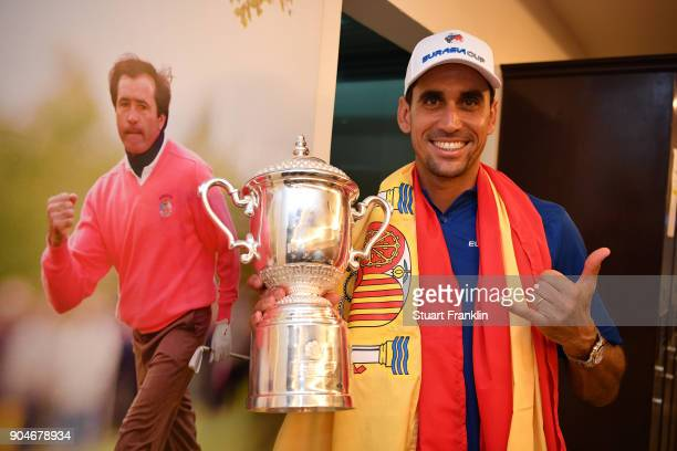 Rafa CabreraBello of Europe celebrates with the trophy following his team's victory during the singles matches on day three of the 2018 EurAsia Cup...