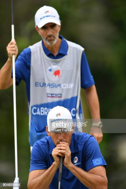 Rafa CabreraBello of Europe lines up a putt during the singles matches on day three of the 2018 EurAsia Cup presented by DRBHICOM at Glenmarie GCC on...