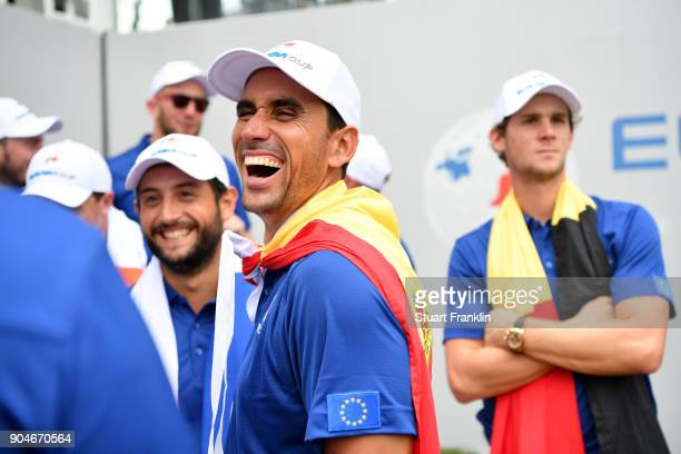 Rafa CabreraBello of Europe reacts during the singles matches on day three of the 2018 EurAsia Cup presented by DRBHICOM at Glenmarie GCC on January...