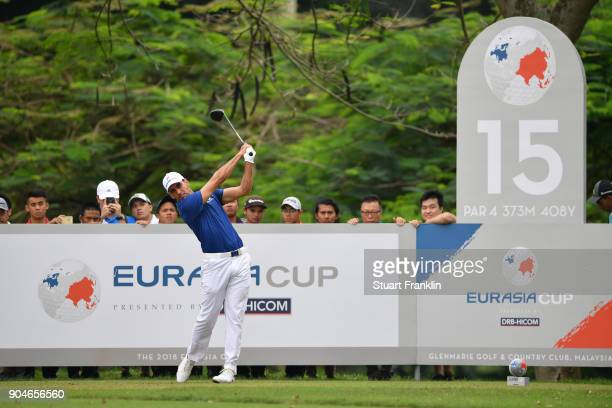 Rafa CabreraBello of Europe tees off during the singles matches on day three of the 2018 EurAsia Cup presented by DRBHICOM at Glenmarie GCC on...