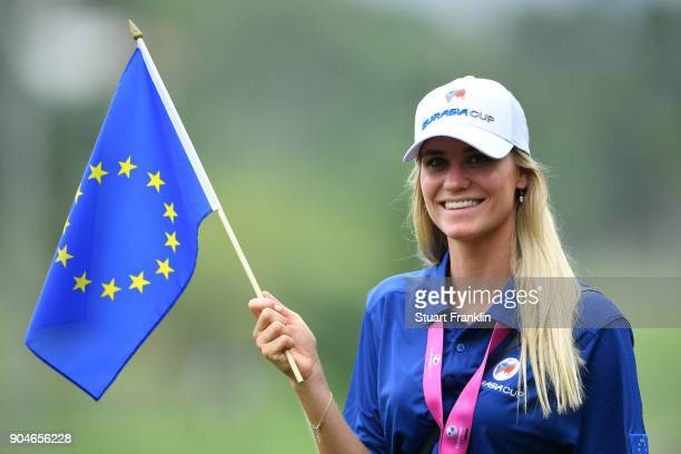 Rafa CabreraBello of Europe's wife Sofia shows her support during the singles matches on day three of the 2018 EurAsia Cup presented by DRBHICOM at...