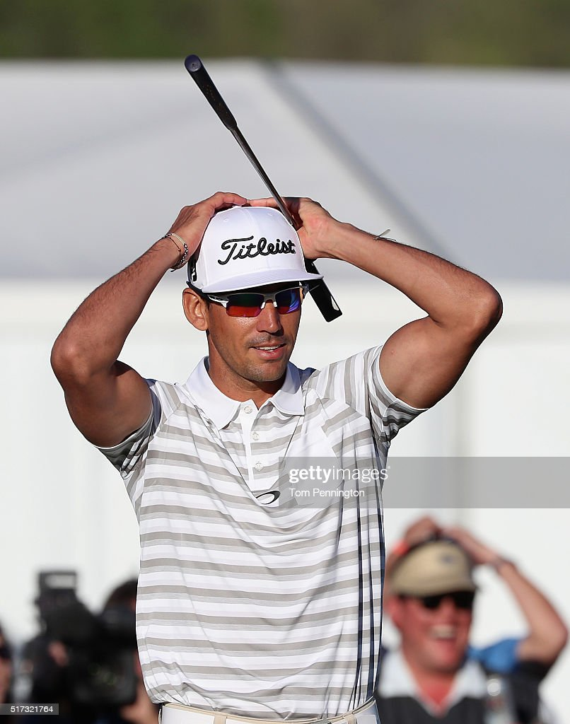 Rafa Cabrera-Bello of Spain celebrates a long birdie putt on the 15th green during the second round of the World Golf Championships-Dell Match Play at the Austin Country Club on March 24, 2016 in Austin, Texas.