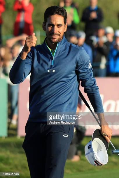 Rafa CabreraBello of Spain celebrates victory on the 1st play off hole during the final round of the AAM Scottish Open at Dundonald Links Golf Course...