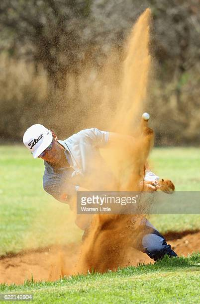 Rafa Cabrera-Bello of Spain hits a bunker shot on the seventh hole during the first round of the Nedbank Golf Challenge at the Gary Player CC on...